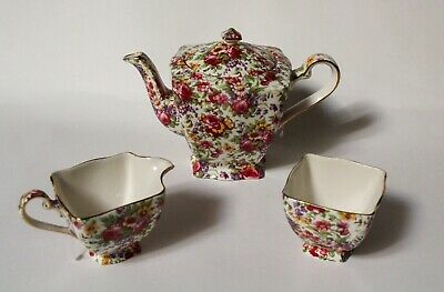 Royal Winton Grimwades Chintz ☆ Summertime Teapot Creamer & Sugar Bowl