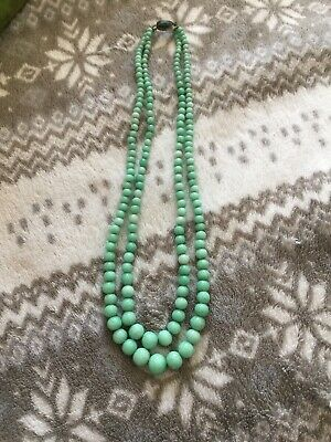 Rare Vintage Or Antique Natural Chinese Jade Or Jadeite Carved Bead Necklace