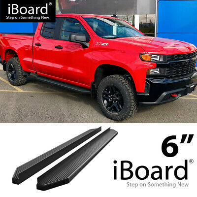 Lund 23810689 Black Steel 5 Oval Curved Nerf Bars for 2019 Silverado 1500 Double Cab Rocker Panel Mount