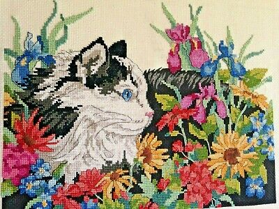 """FINISHED CAT AMONG WILDFLOWERS COUNTED CROSS STITCH 11.5"""" X 9.5""""  Dimensions"""