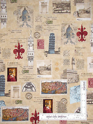 Bridgets Travel Paris Rome Girl Shop Cotton Fabric Springs CP56124 By The Yard