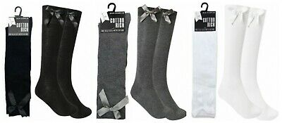 Girls School Knee High Socks With Ribbon Bow Cotton Rich Grey White Black