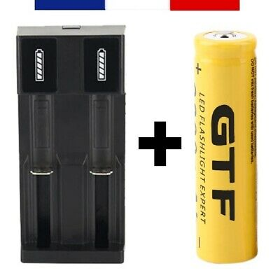 18650 - PILE BATTERIE RECHARGEABLE 9800 mAh LI-ION 3,7 V + CHARGEUR DOUBLE USB