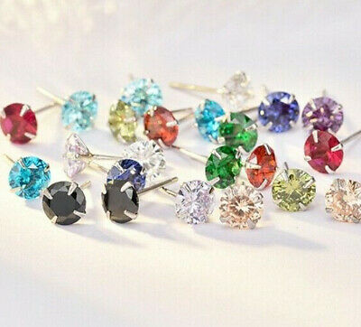 SOLID 925 STERLING SILVER Birthstone Colour CZ Stud Earrings Blue Black Pink