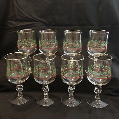 8 Vintage Arby's Libbey Bow Stem Glasses Holly Berry Christmas Glass Gold Trim