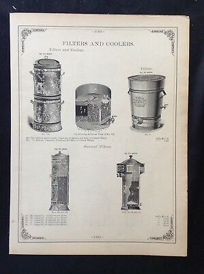 1888 Vintage Simmons Hardware Catalog Pg ~ Toilet Ware ~ Cistern Filters Coolers