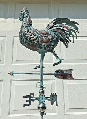 3D ROOSTER Functional Weather vane AGED COPPER PATINA French Country Chicken NEW