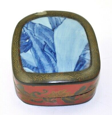 Vintage Old Chinese Shard Box Porcelain Inlay Lacquer Painted Jewelry Handmade