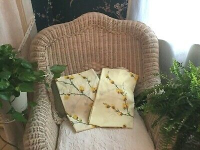 2 Vtg Fieldcrest Perfection Percale Standard Pillowcases Yellow Pussywillow Exc