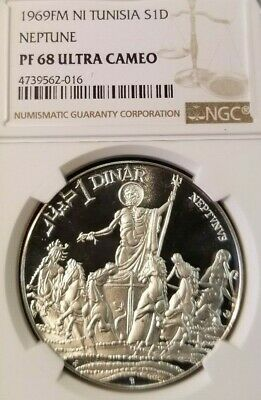1969 Tunisia Silver 1 Dinar Roman God Neptune Ngc Pf 68 Ultra Cameo Beautiful