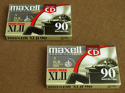 2 new MAXELL XLII 90 min Blank Audio Cassette Tapes HIGH BIAS (Type II)