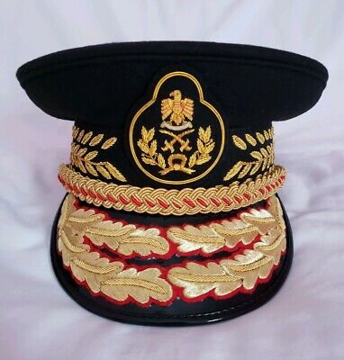 Colonel Gaddafi Military Army General Officers All Black Parade Visor Hat Cap