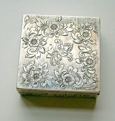 Antique Compact 800 Etched Silver Powder Lipstick Mirror