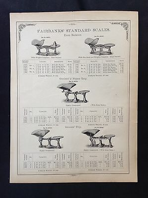 1888 Vintage Simmons Hardware Catalog Page ~ Fairbanks Standard Grocer Scales
