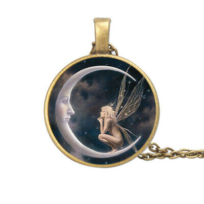 Fairy on the Moon Photo Cabochon Glass Chain Pendant Necklace Bronze Black Silve