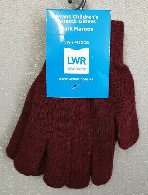 BNWT Boys Girls LWR Brand Smart Maroon Knit Primary School Uniform Warm Gloves
