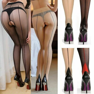 Back-Seam Line Stockings Cuban High Heel Tights Pantyhose 20D Sheer Crotchless