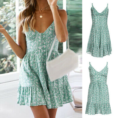 Womens Boho Strappy V-neck Short Mini Dress Ladies Summer Floral Swing Sundress