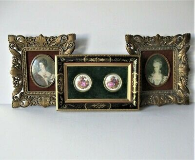 3 Vintage Framed Victorian Cameo Creation Portraits, double porcelain painting