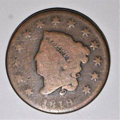 1819 1C Coronet Head Large Cent Copper Us Coin