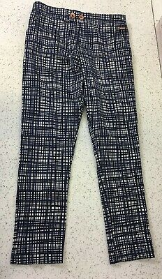 Girls Marks & Spencer 9-10 Years Autograph Blue White Check Tailored Trousers