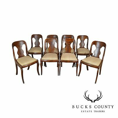 Empire Style Antique Mahogany Set 8 Dining Chairs