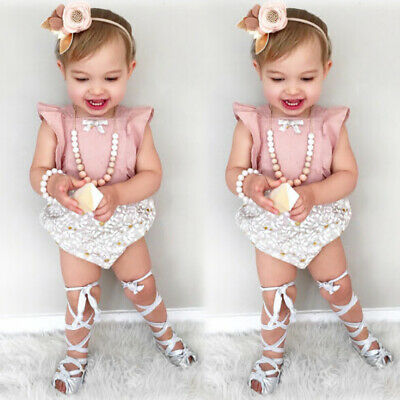 Newborn Baby Girl Summer Cute Cotton Romper Jumpsuit Playsuit Outfit Clothes Set