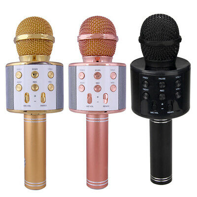 Karaoke Microphone Wireless Bluetooth Handheld Mic Ktv Usb Speaker Player Uk