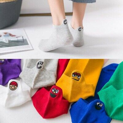Cartoon Embroidered Expression Socks Women Mens Funny Cotton Blend Ankle Socks