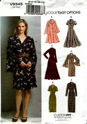 Vogue Sewing Pattern V9345 9345 Womens Dress Size 6-8-10-12-14 NEW