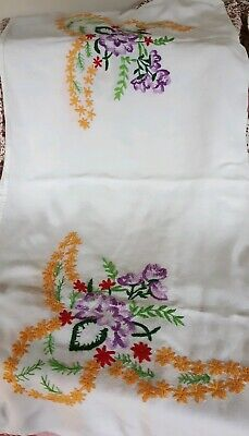 Vintage Retro White Tablecloth Hand Embroidered Yellow Purple Floral Vibrant
