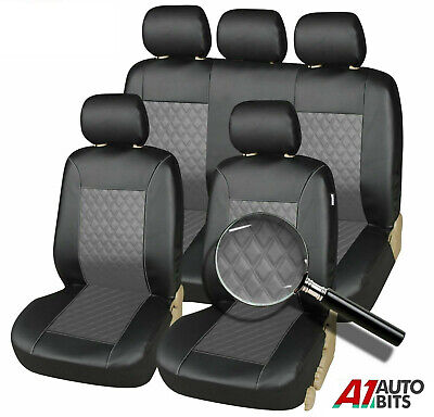 Front & Rear Vauxhall Astra Vectra Car Seat Covers Leather Look Full Set In Grey