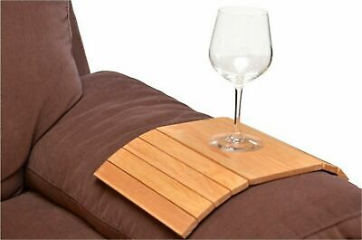 Wooden Flexible Sofa Arm Chair Tray Media Snack Serving Tray Arm Rest Organizer