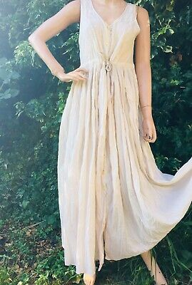 Vintage Next Long Cream Hippie Boho Festival Embroidery Crinkle Dress Size 12