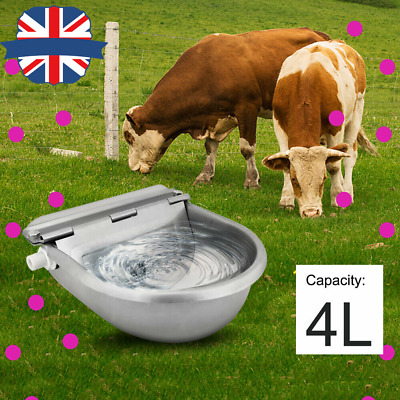 22cm Stainless Water Trough Bowl Automatic Drinking Horses Goats Sheep Catte 4L