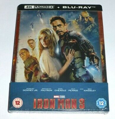 Iron Man 3 : 4K Uhd + 2D Blu Ray ( Steelbook - Uk Exclusive ) Marvel