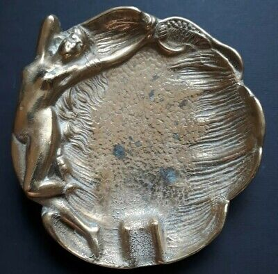 Art Nouveau /Art Deco Naked Lady Ashtray Dish Brass, Vintage (2)