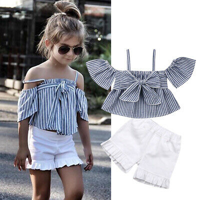 AU Toddler Kid Baby Girl Bowknot Top Tank Shorts Pants Outfit Set Summer Clothes
