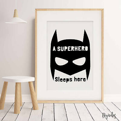 NURSERY BEDROOM CHILDREN'S WALL ART Baby Boy Batman Superhero  QUALITY Print