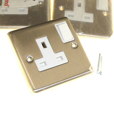 1 Gang Stainless Steel Switched Socket 13 Amp Legrand 81327 x 4
