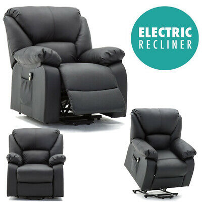 Electric Power Lift Rise Recliner Chair Armchair Sofa Leather Lounge Seat 2e