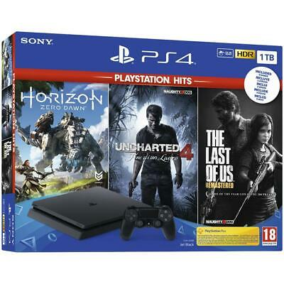 Ps4 1Tb Slim Black + Horizon Zero Dawn + Uncharted 4 + The Last Of Us - Hdr Sony