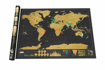 Large Deluxe Scratch Off World Map Travel Tracker with Flags Log Gifts 82X59cm