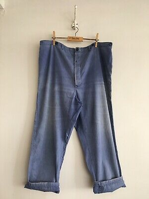 "True Vintage Faded Cotton Chore Workwear Trousers Pants W39"" L XL"