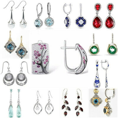 Women 925 Silver Ruby Pearl Sapphire Gemstone Ear Stud Hook Dangle Drop Earrings