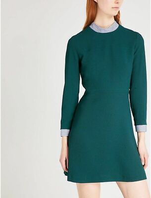 SANDRO Women Short Green Dress With Removable Striped Collar