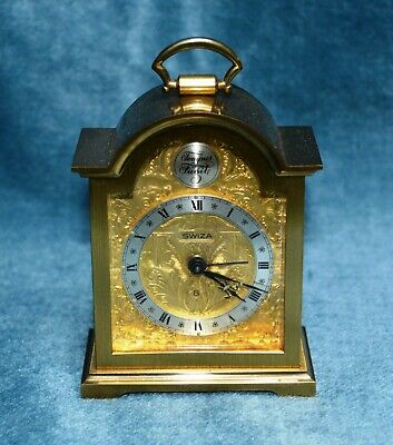 Antique Miniature Gilt Brass Swiza Alarm Bracket Clock Working