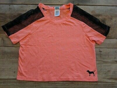 PINK VS VICTORIA/'S SECRET CORAL LOGO MESH PERFECT CREW CROPPED SHORT SLEEVE TEE