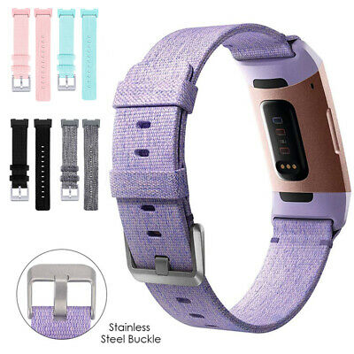 Woven Canvas Fabric Watch Band Replacement Watchband Strap For Fitbit Charge 3