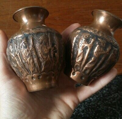 Antique Repousse Chased Copper Mini Vases Hand Hammered Beaten Figures Indian?